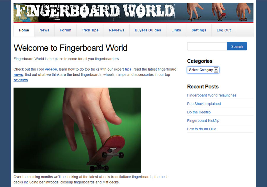 Fingerboard World.com website